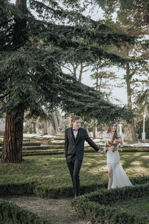 Happy elegant newlyweds holding hands while walking on pathway