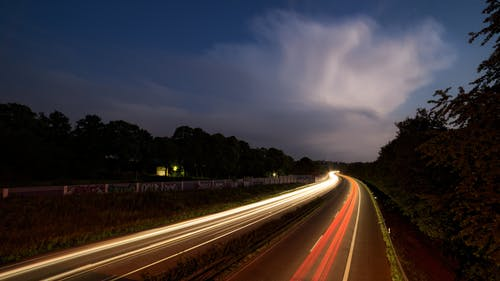 Time Lapse Photography of Car Lights