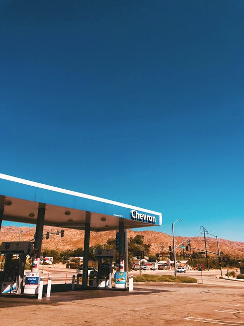 Blue and White Gas Station