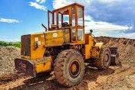 yellow, excavator, wheels