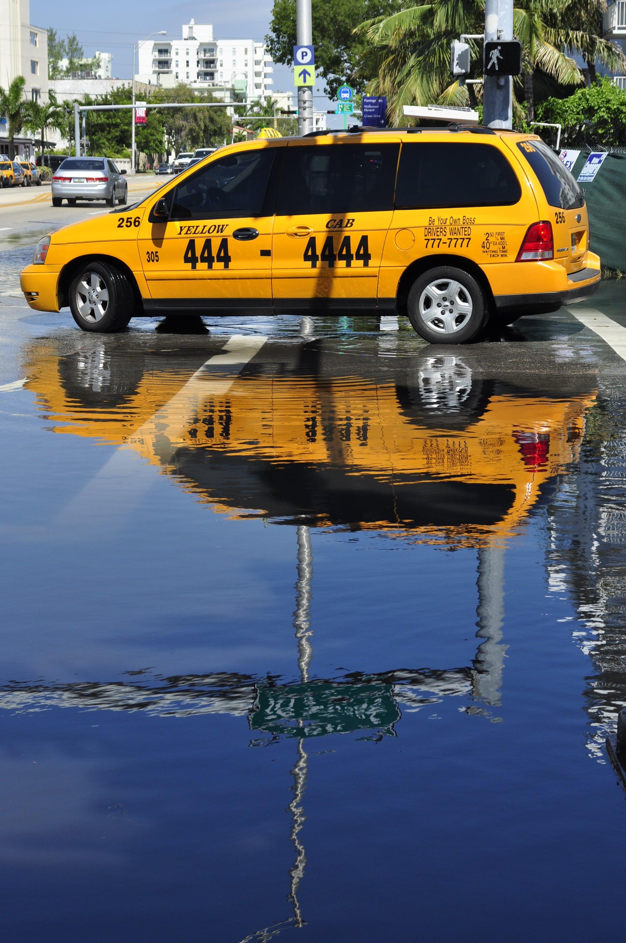 Free stock photo of cab, miami, reflection, street