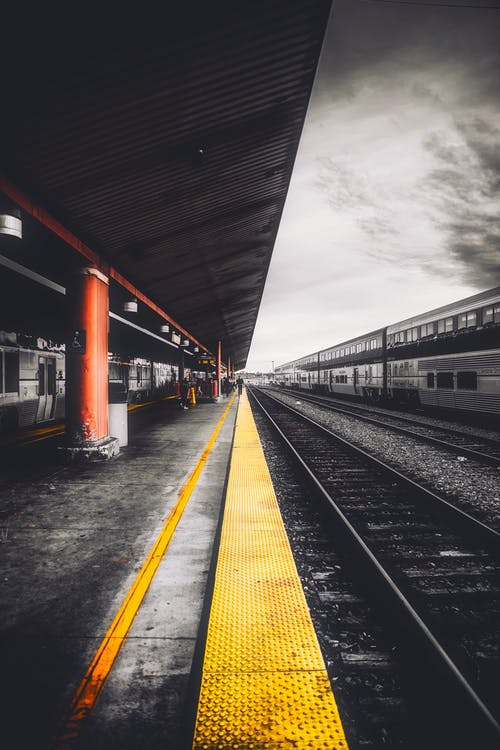 Selective Color Photography of Train Station