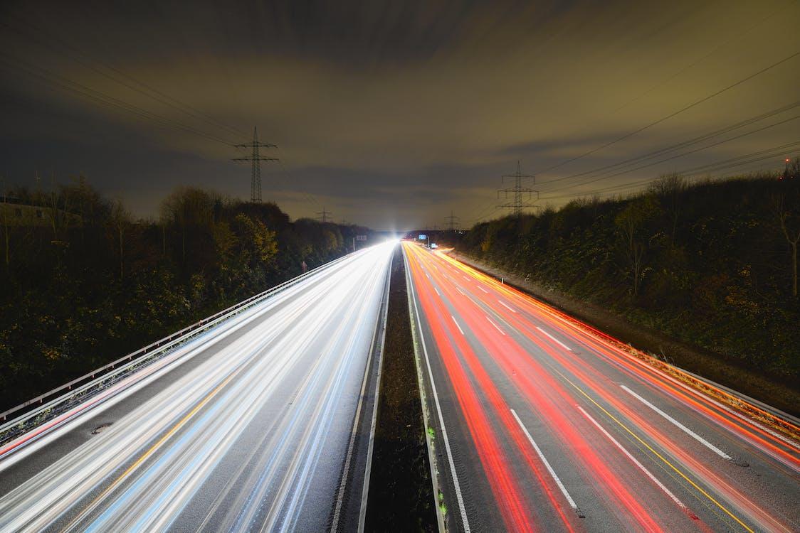 aften, asfalt, bevægelse