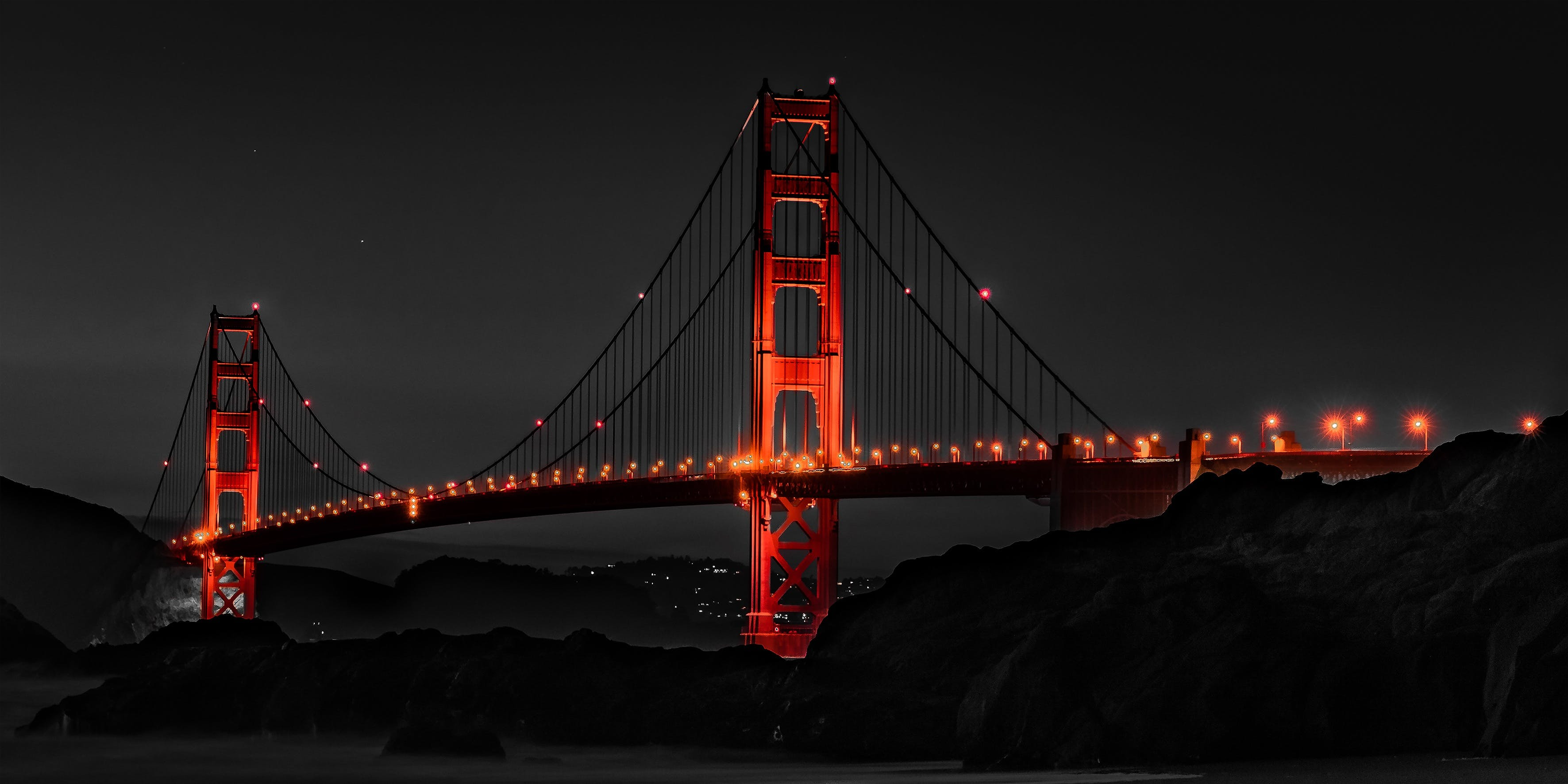 Selective Color Photography of Golden Gate Bridge, California