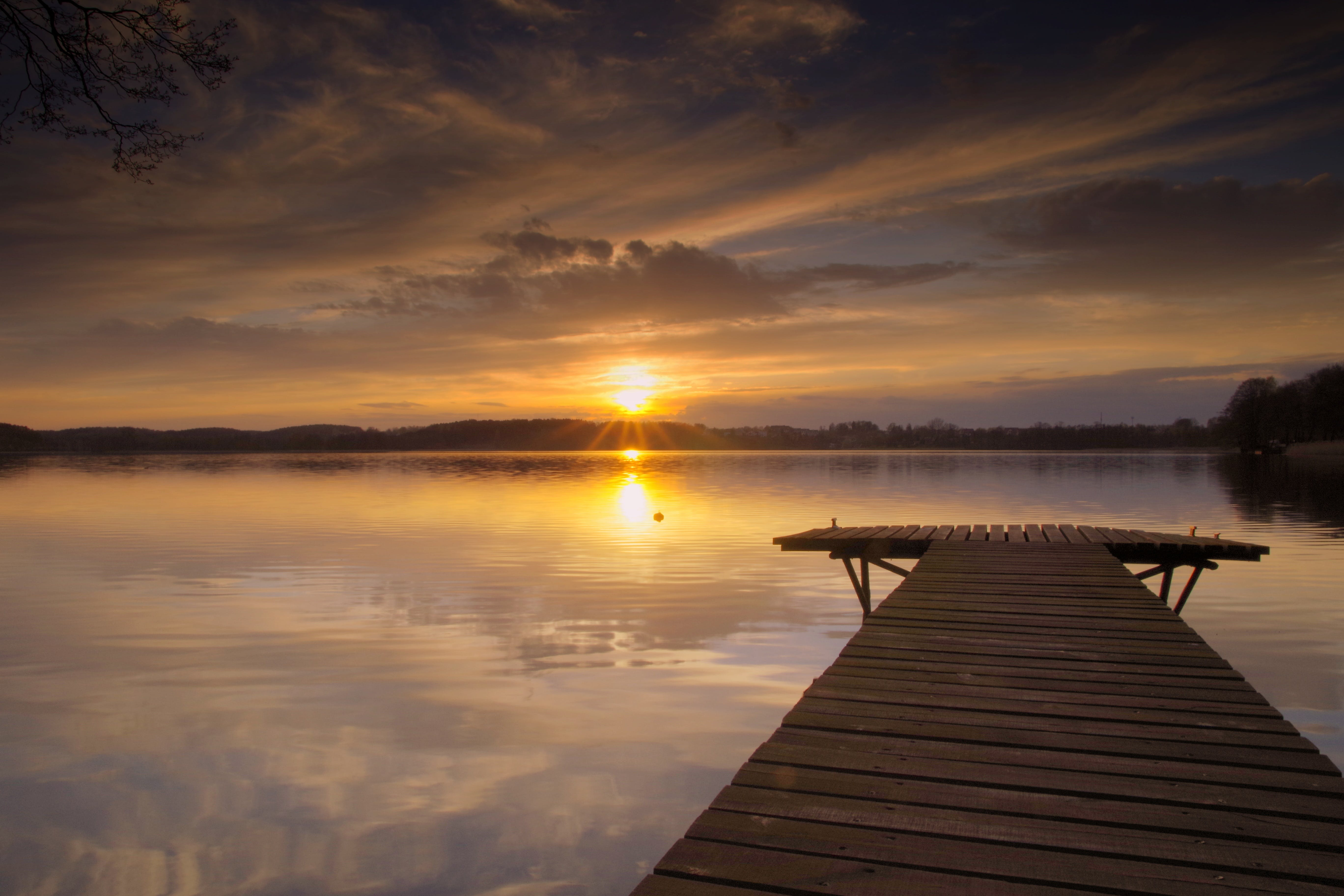 Photography of Lake Dock during Golden Hour