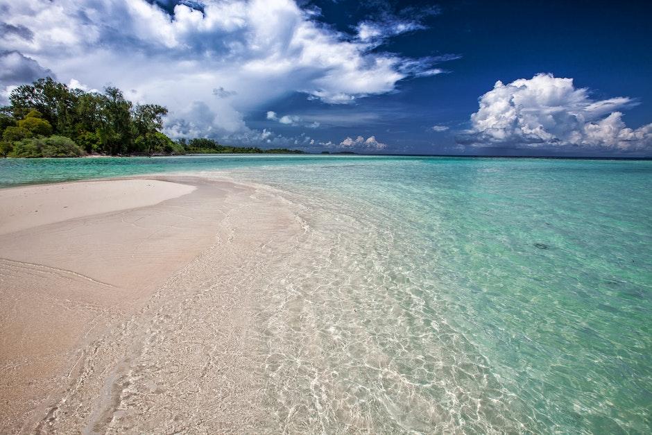bay, beach, clouds
