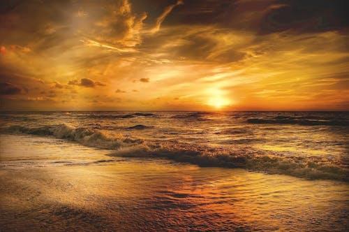 คลังภาพถ่ายฟรี ของ คลื่น, งดงาม, ชั่วโมงทอง, ชายทะเล