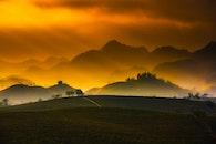 dawn, mountains, nature