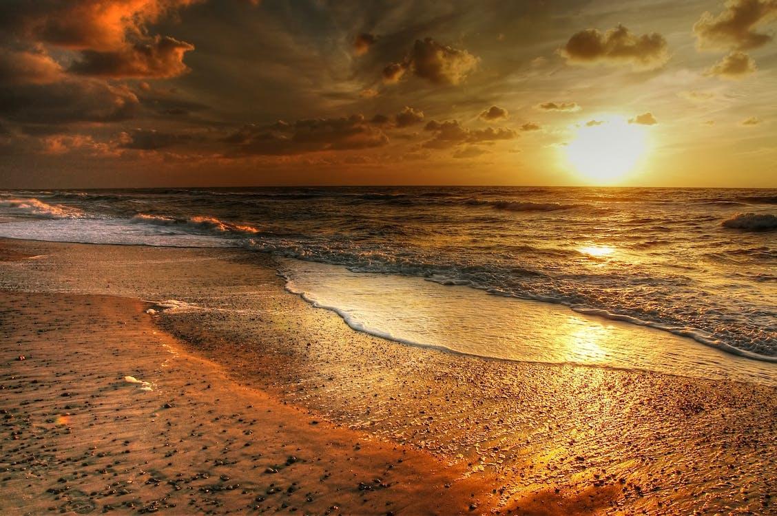 dämmerung, himmel, küste
