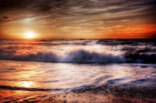 Základová fotografie zdarma na téma mávání, moře, mraky, obloha