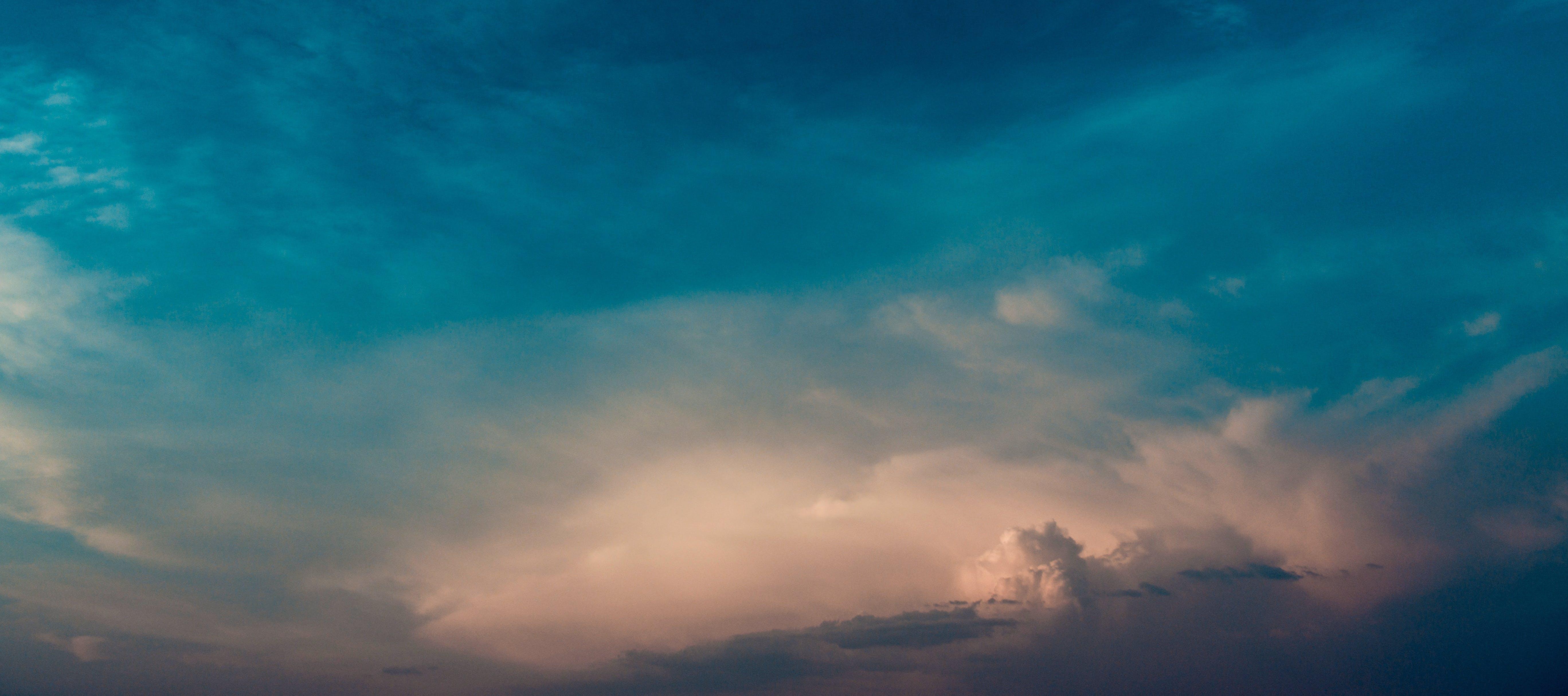 zu abend, bewölkt, blau, dämmerung