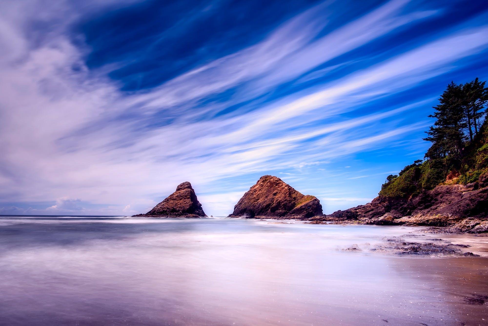 Time-lapse Photo of Seashore