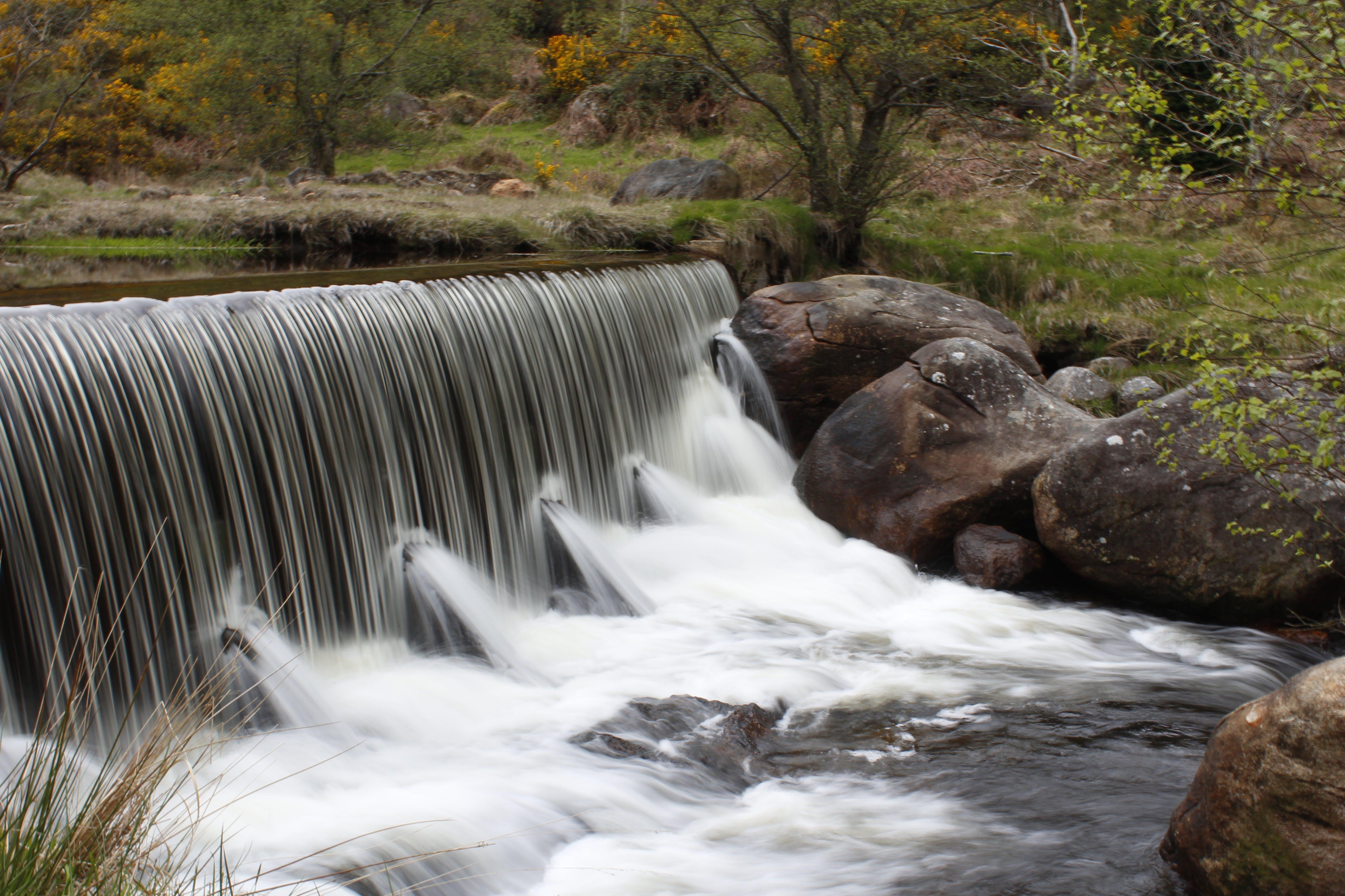 boulders, cascade, creek