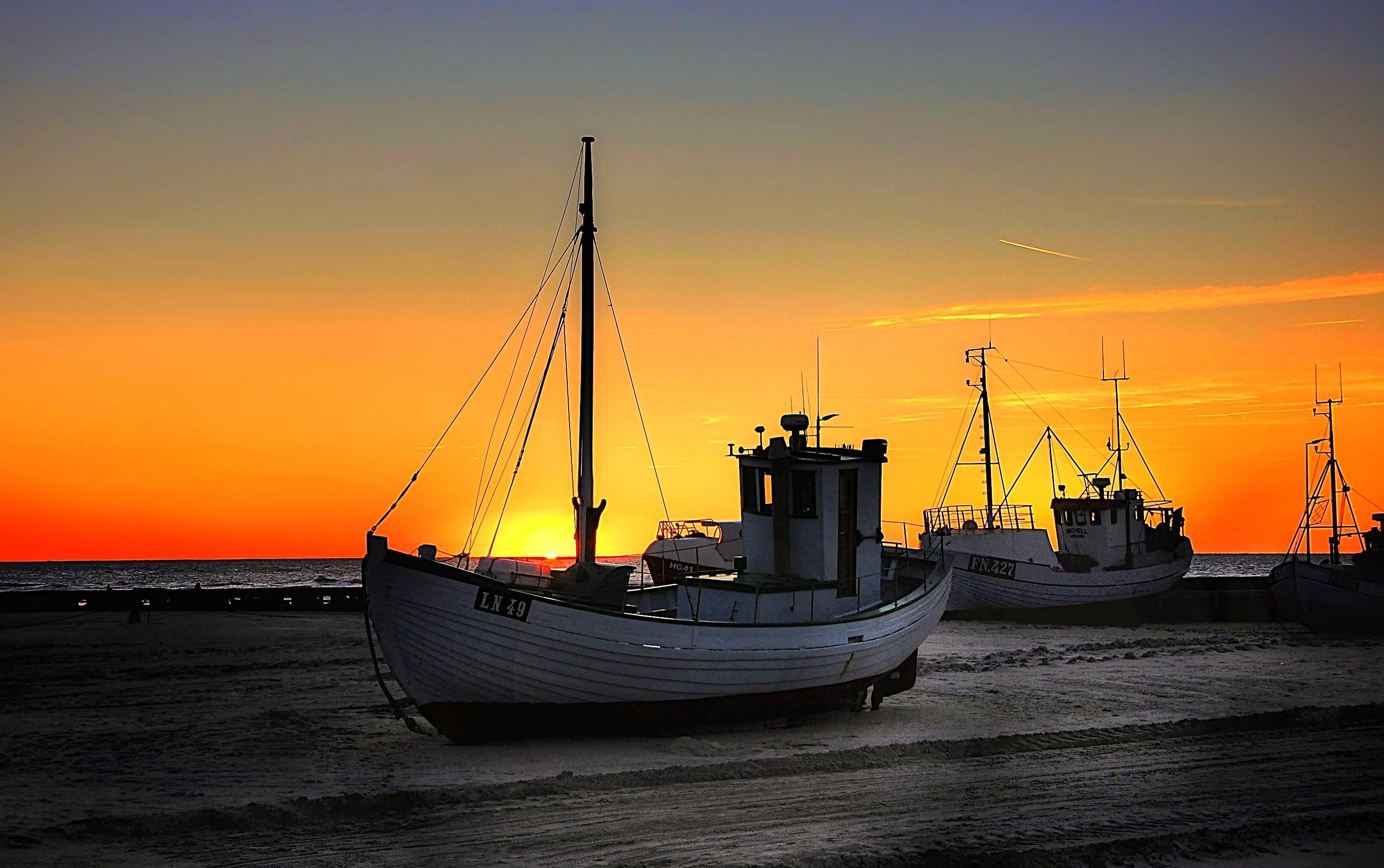 Fishing Boat Parked at Seashore