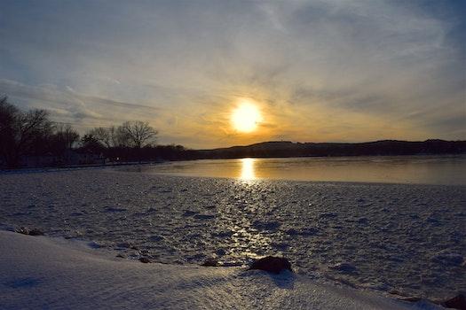 Free stock photo of snow, light, sea, dawn