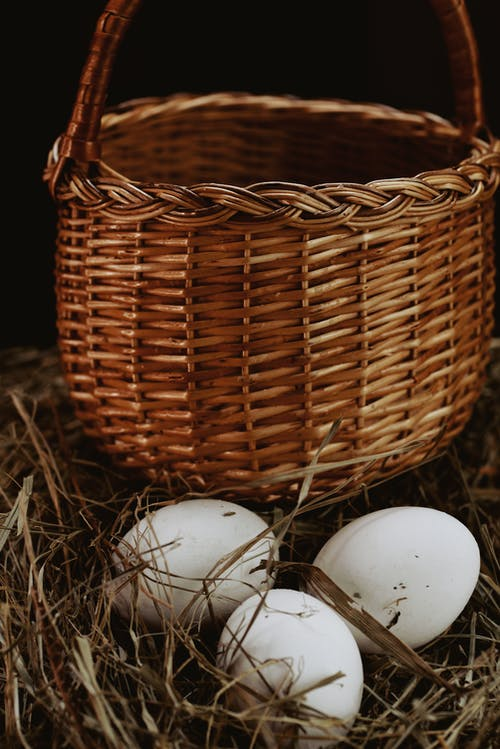 High angle of wicker basket placed near nest with white chicken eggs in countryside