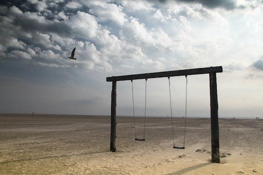 Free stock photo of beach, holiday, swing, playground