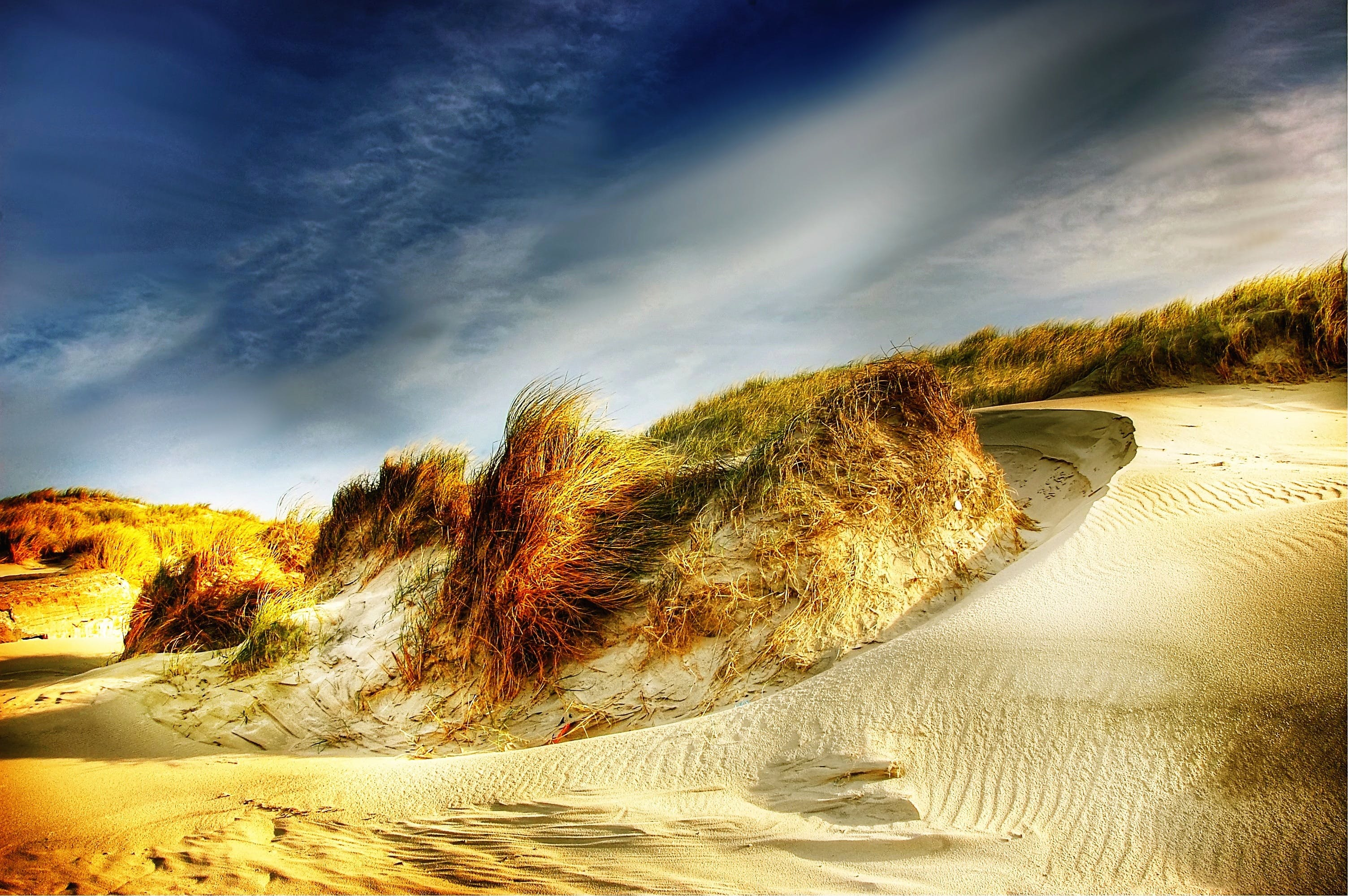 blue, clouds, dunes
