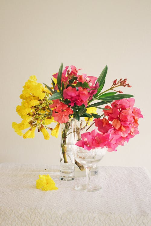 Pink Yellow and Red Flowers in Clear Glass Vase