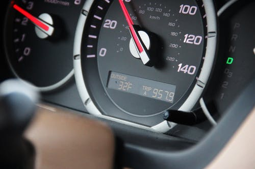 Close-Up Shot of a Speedometer