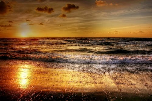 คลังภาพถ่ายฟรี ของ การสะท้อน, ขอบฟ้า, คลื่น, ชายหาด