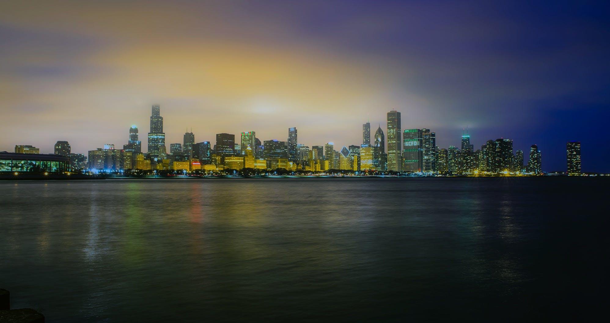 Cityscape Under Blue Sky Background