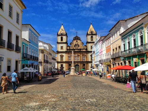 Historical center of city in sunlight