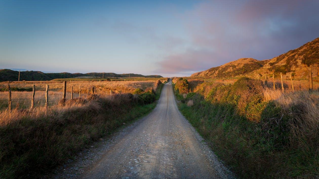 Gray Road Between Green Grass Field Under Blue Sky