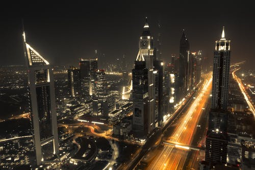 Ingyenes stockfotó belváros, dubaj, Egyesült Arab Emirátusok, éjszaka témában