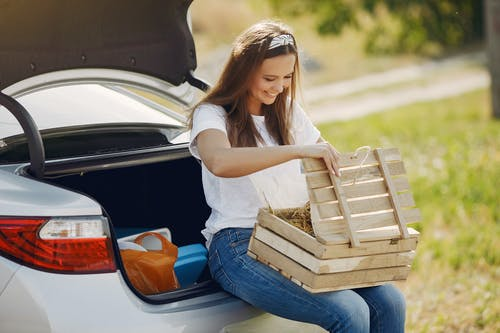 Smiling young woman with wooden box near automobile during car travel in nature