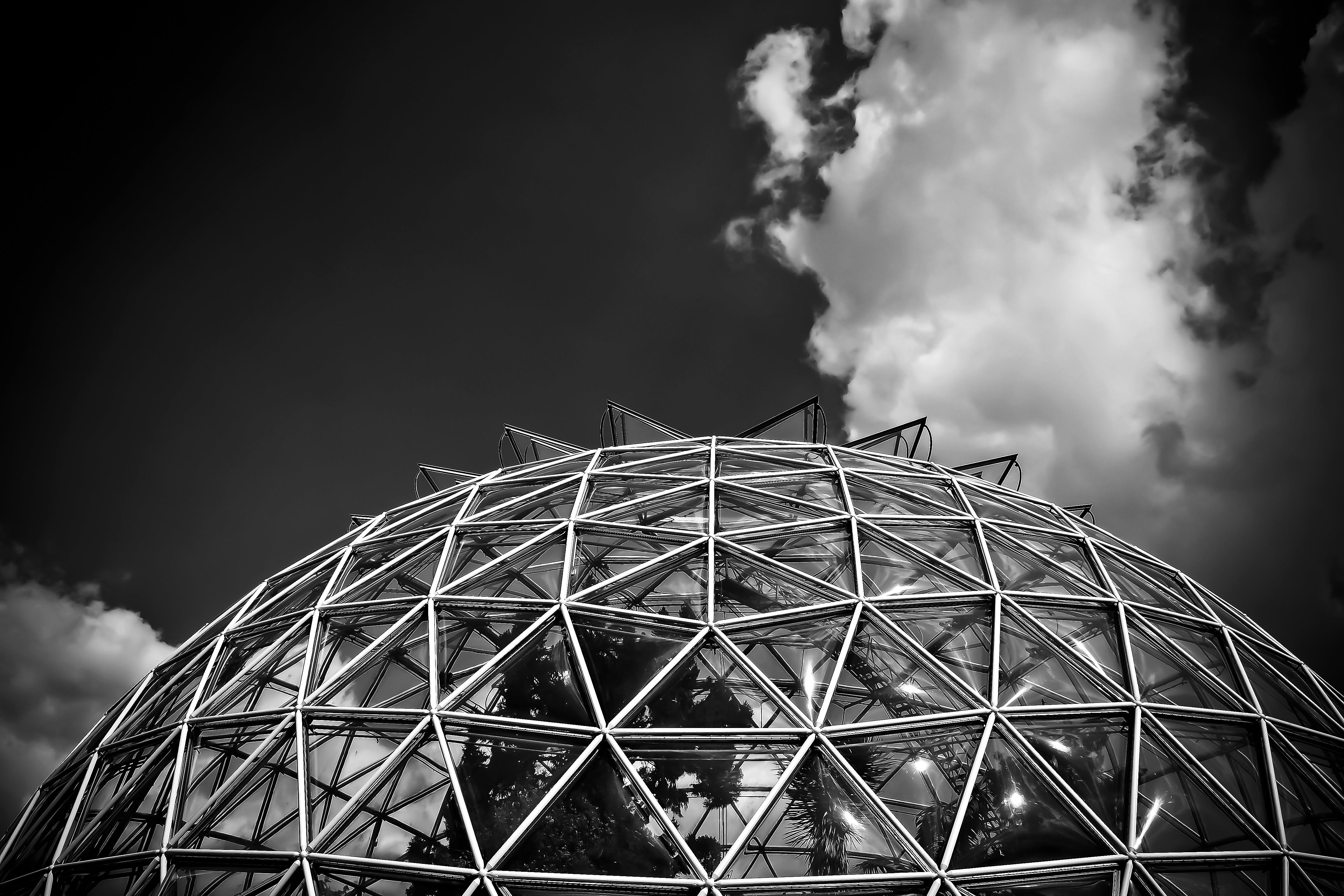 Grayscale Photography of Clear Glass Dome Building