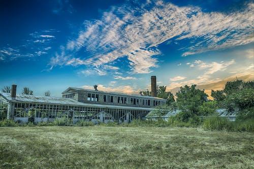 Kostenloses Stock Foto zu alte fabrik, architektur, bäume, blauer himmel