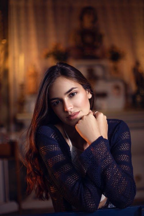 Woman in Black Knit Sweater