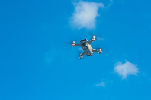 White uav with spinning motors in air