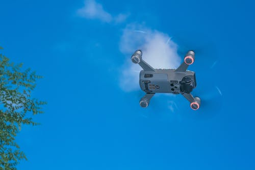 Lower part of drone flying in air