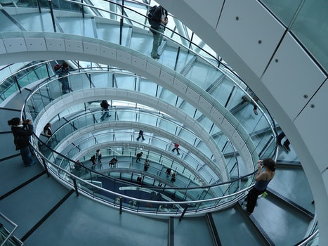Free stock photo of stairs, people, building, glass
