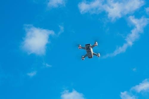 Modern drone flying in sky