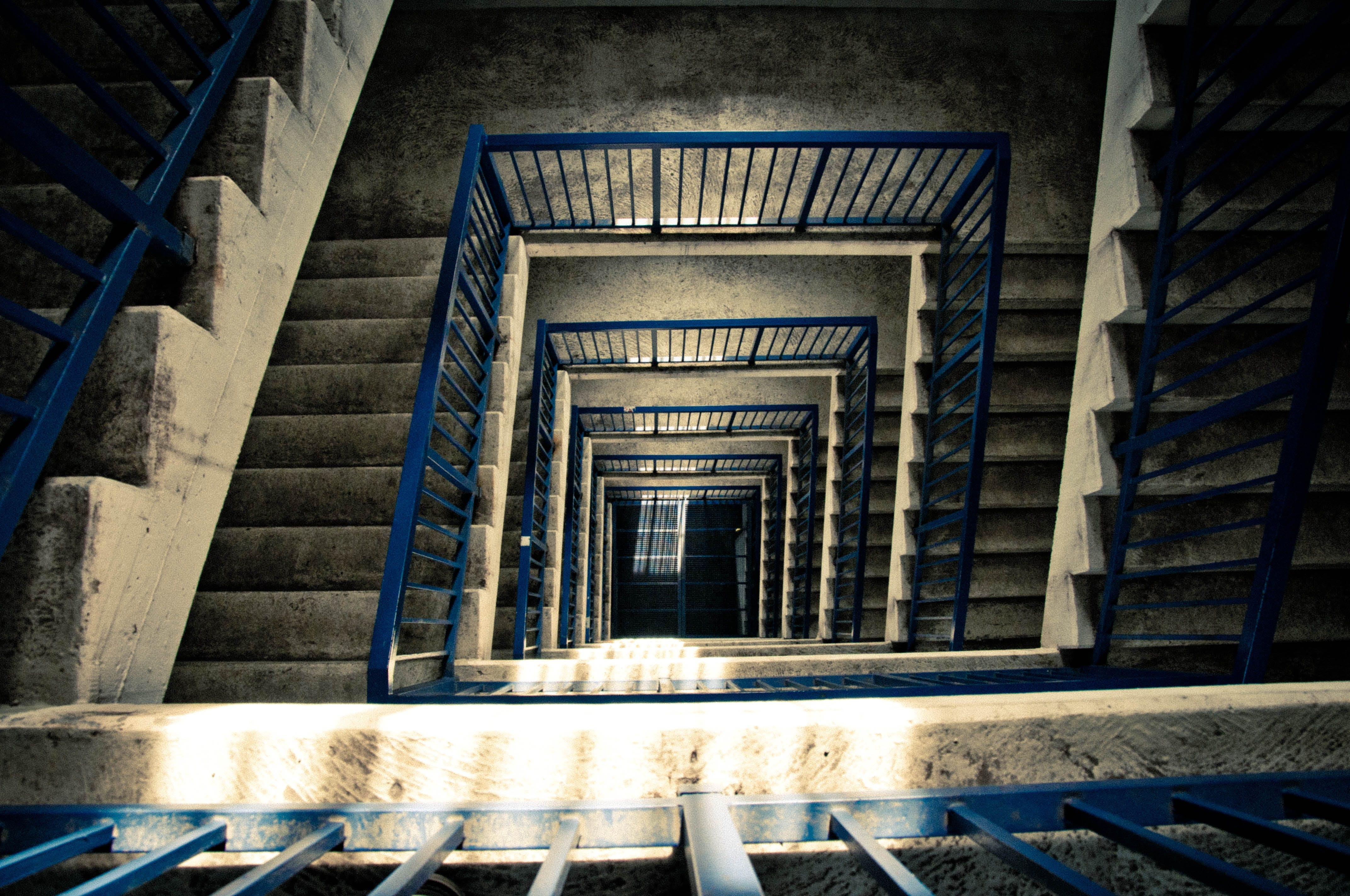 Free stock photo of stairs, light, blue, dark