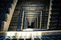 stairs, light, blue