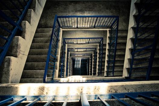 Free stock photo of stairs, light, blue, dark