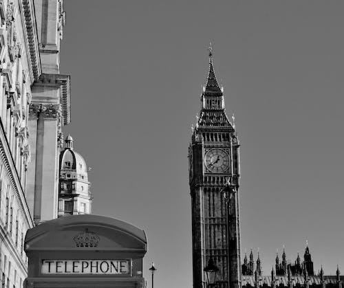 倫敦, 倫敦大笨鐘, 古老的, 單色 的 免费素材照片