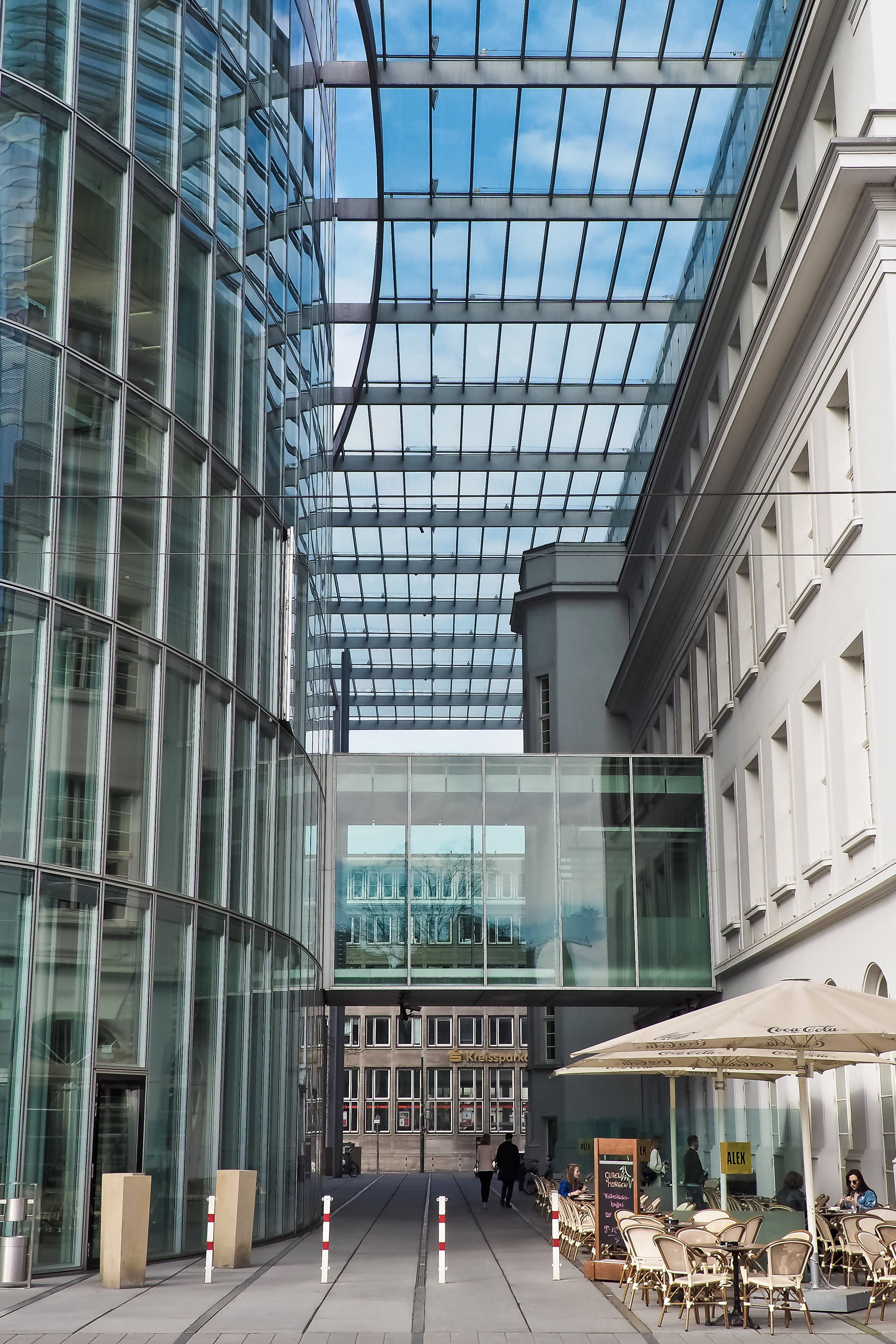 Free stock photo of building, office, glass, café