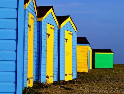 Free stock photo of beach, beach huts, blue