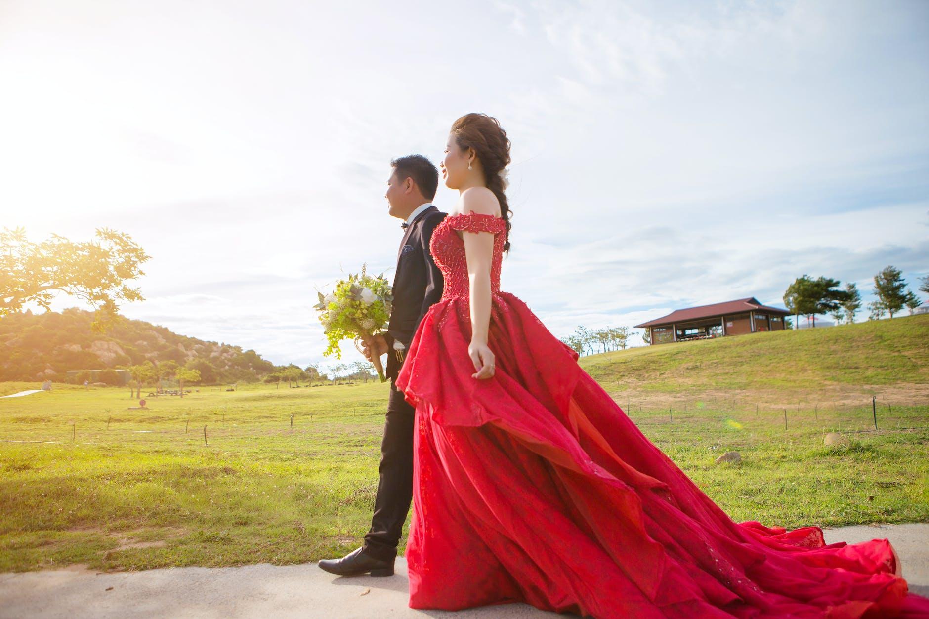 Bridal red wedding dress