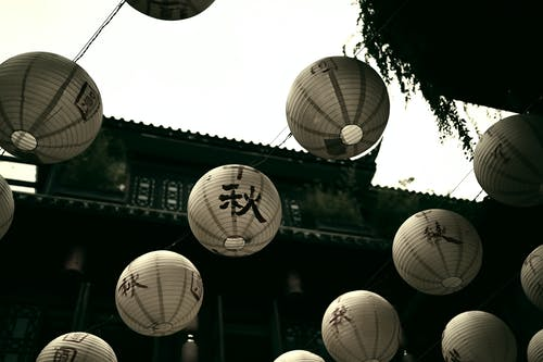 Round paper lanterns decorating street of ancient city