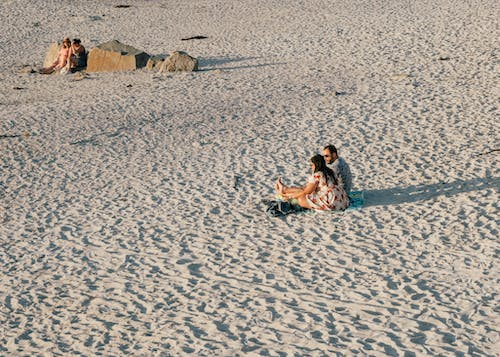 People sitting on sandy beach in daytime
