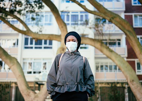 Ethnic woman in protective mask on city street