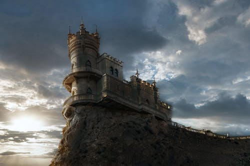 Old castle on rocky cliff