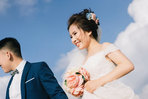 Free stock photo of blue, blue sky, bouquet, bride