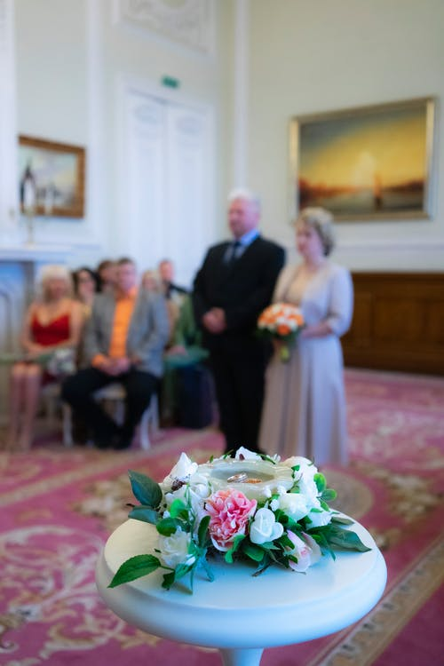 Blurred groom and bride on wedding ceremony